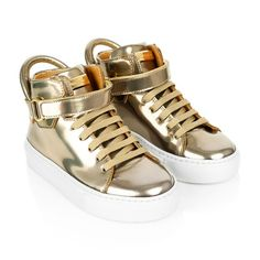 Buscemi Metallic Gold Leather Trainers