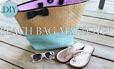 DIY Beach Bag Makeover - re-make an old beach bag with a little paint for a cool colorblocked look!