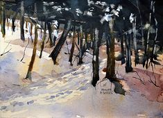 Nice watercolor painting of a snow covered forest. Work by Plein air and studio artist, Spencer Meagher. Prints from Fine Art America.