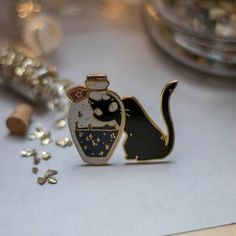 The Witch's Cat Pins and Stickers Aurigae Art on Etsy Things To Buy, Stuff To Buy, Fun Things, Cat Pin, Hard Enamel Pin, Creepy Cute, Pin And Patches, Lapel Pins, Pin Collection