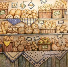 Another WIP done: Pauline's Bakery from the pages of Eriy's Romantic Country. Prismacolor pencils. #adultcoloring #adultcoloringbook #paulinesbakery #eriy #romanticcountry #bakery #boulangerie #bread