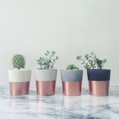 Copper Dipped Cement Pot - vases