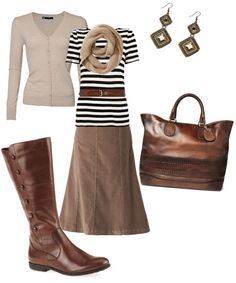 monotone brown....maybe a flash of color with a diff cardigan or scarf. I like the shape