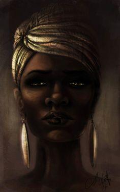 Dark beauty in gold ~ women in paintings