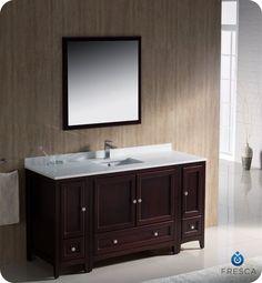 """Fresca Oxford 60"""" Traditional Bathroom Vanity Mahogany Finish"""
