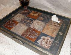 """Купить Столик-поднос """"Византия"""" - синий, поднос, столик-поднос, поднос для кухни, поднос декупаж"""