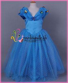 Pinkvanille.ch Cinderella Kleid Kinderkostüm Hochzeitskleid für Mädchen Blumenmädchenkleid Brautmädchenkleid Festmode für Kinder Prinzessinnenkleid
