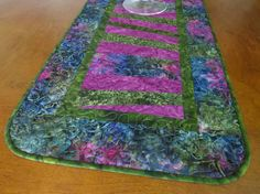 Quilted Fuchsia Olive Blue Batik Table Runner 460 by QuiltinWaYnE