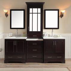 "Ariel Bath 85"" Stafford Double Sink Bathroom Vanity - Espresso M085D-ESP"
