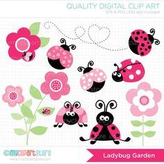 Ladybug Garden Pink Clip Art / Digital Clipart di MyClipArtStore