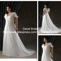 DV0072 Beaded Chiffon Plus Size Wedding Dresses with Sleeves US $196.00