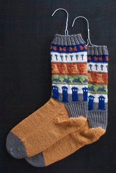 Doctor Who Socks by beautysmuse.. I really want to knit me some Doctor Who socks.