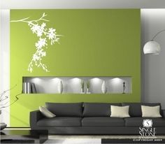 Wall Decals Blossoming Branch Wall by singlestonestudios on Etsy My Living Room, Home And Living, Living Room Decor, Living Spaces, Living Area, Modern Tv Wall, Modern Decor, Wall Design, House Design