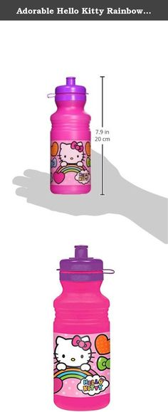 Adorable Hello Kitty Rainbow Drink Bottle Birthday Party Favour (1 Piece), Pink/Purple, 18 oz. Birthdays are a lot of fun with lots of kids running around. Keep them hydrated with our adorable Rainbow Hello Kitty Water Bottle!.