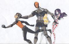 Teen Titans - Robin Raven Terra and Slades Apprentice Teen Titans Robin, Teen Titans Go, Slade Teen Titans, Teen Titans Fanart, Robin Starfire, Beast Boy, Dc Comics, Robin And Raven, Original Teen Titans