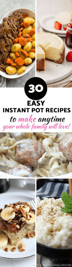 30 Easy Instant Pot Recipes for Beginners - The Daily Change Jar - - If you are considering (or have already bought) a pressure cooker, here are some Instant Pot recipes for beginners to get you started cooking like a pro. Instant Pot Cheesecake Recipe, Best Instant Pot Recipe, Instant Pot Dinner Recipes, Easy Pressure Cooker Recipes, Instant Pot Pressure Cooker, Pressure Cooking, Recipes For Beginners, Food To Make, Cooking Recipes