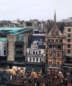 Busy shopping scene on Princes Street, Edinburgh, Scotland