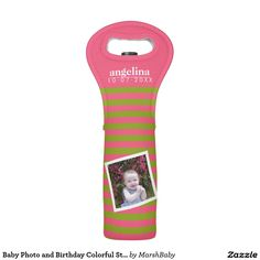 Baby Photo and Birthday Colorful Striped Pattern Wine Bag