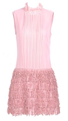 Pink Sleeveless Pleated Lace Rhinestone Chiffon Dress - Sheinside.com