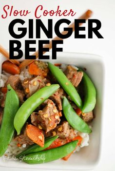 Slow cooker ginger beef - a super simple real food recipe for busy families! Set the crockpot and dinner is ready when you are. Shredded Beef Recipes, Beef Steak Recipes, Healthy Beef Recipes, Beef Recipes For Dinner, Oven Recipes, Beef Meals, Slow Cooker Recipes, Crockpot Recipes, Whole Food Recipes