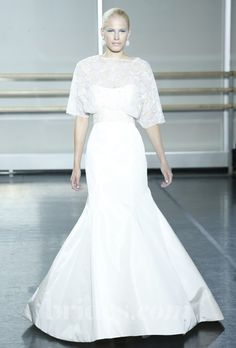 """Brides.com: . """"Etrine"""" silk faille and silk organza strapless trumpet wedding dress with a crystal beaded blouse, Rivini  See more Rivini wedding dresses in our gallery."""