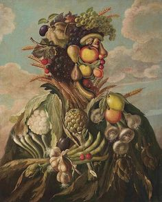 Anthropomorphic profile of a man composed of fruit and vegetables, in the manner of Giovanni Stanchi. Oil on canvas, 17th century, private collection Giuseppe Arcimboldo, Mad Movies, Oil On Canvas, Canvas Art, Italian Painters, Fruit Art, Art Techniques, Food Art, Gestalt Laws