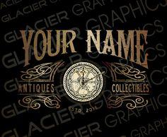 Victorian Steampunk Logo Custom Antiques Logo by WAGlacierGraphics