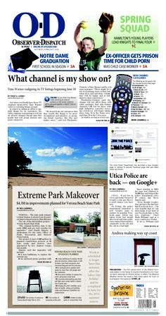The front page for Saturday, June 8, 2013: Extreme park makeover