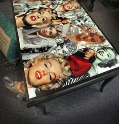 A repurposed end-table with a collage of Marilyn Monroe images, for sale at Whimzy (940 Logan St), the new and hip antique mall in downtown Noblesville.  (Frank Espich/The Star)
