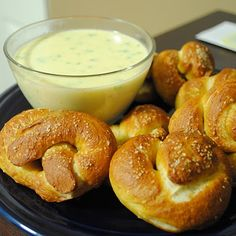 Soft Pretzels with Jalapeno Cheese Sauce.