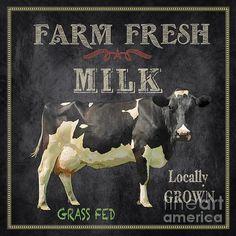 Vintage Farm, Vintage Diy, Vintage Labels, Vintage Signs, Images Vintage, Vintage Pictures, Farm Art, Cow Art, Fresh Milk