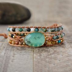 Discover our gemstone bead leather wrap bracelets collection. Our wrap bracelets are handmade with natural semi-precious stones. Vegan wrap bracelets available. Bracelet Jade, Bracelet Turquoise, Stone Bracelet, Turquoise Beads, Turquoise Stone, Bracelets Wrap En Cuir, Beaded Bracelets, Beaded Jewelry, Handmade Jewelry