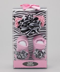 This Baby Essentials Pink & Black Zebra Socks & Headband Set by Baby Essentials is perfect! #zulilyfinds