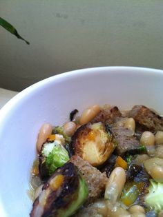 White Beans, Brussels Sprouts and Bread, a vegan recipe from 'Semolina and Sauce' blog