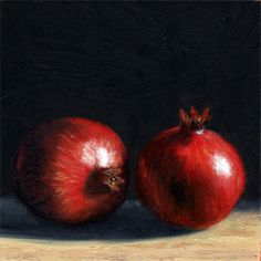 New daily painting from Peter J Sandford Two pomegranates http://peterjsandford.com/two-pomegranates/