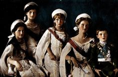 """""""Last Imperial children of Russia, martyred in 1918, for the crime of being born under Romanov name.   From left to right:  Grand Duchesses Marie (b. 1899), Tatiana (b. 1897), Anastasia (b. 1901), Olga (b. 1895) and Czarevich Alexei (b. 1904), in full court dresses. Year 1911."""""""