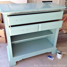 Tutorial for painting high traffic furniture with enamel.  The Creativity Exchange
