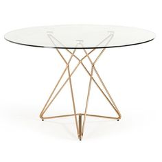 Attrayant The Modrest Ashland Modern Glass Round Dining Table Features A Dainty Round  Tempered Clear Glass Top Perched On A Polished Dimensions: X X C