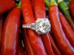 Diamond ring placed around peppers