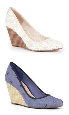 Darling almond toe wedges in cream lace and anchor chambray fabrics
