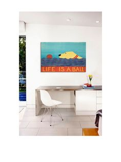 Stephen Huneck Life Is A Ball Gallery Wrapped Canvas Print at MYHABIT