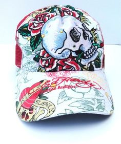 ED HARDY SPECIALTY RHINESTONE SKULL CAP WHITE RED ROSES TRUCKER HAT 10001R NEW
