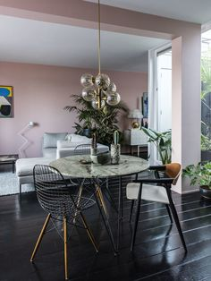 Jules David with Maaike Chanowski | Amsterdam Apartment; black timber and dusty pink