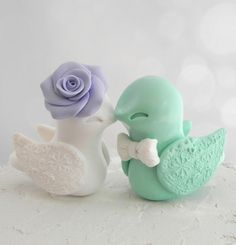 Love Bird Wedding Cake Topper, Lilac, White and Mint Green, Bride and Groom…