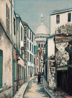 Maurice Utrillo (French, 1883 - 1955)  Sacré Coeur à Rue Saint-Rustique, c.1919. Oil on board.