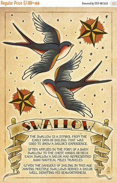 15% OFF SALE Tattoo Flash Sheet - Swallow (Art Prints available in multiple sizes)