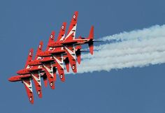 Trooping the Colour and Red Arrows could be axed in big defence cuts Raf Red Arrows, Airplane Crafts, Colors Of Fire, Aerial Acrobatics, Blue Angels, Royal Air Force, Air Show, Military Aircraft, Troops