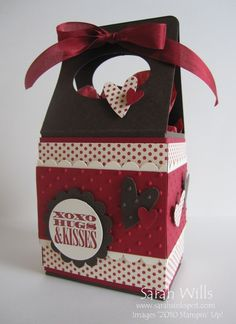 This sweet box is made from just one piece of cardstock plus papers and embellishments to decorate it with and it is held closed by a piece of ribbon at the very top. Scrapbook Box, Scrapbooking, Milk Box, Sweet Box, Cute Box, Envelope Punch Board, Carton Box, Craft Show Ideas, Craft Box