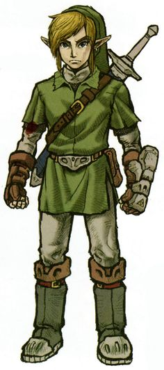 Concept art from Hyrule Historia of Twilight Princess Link