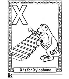 Xylophone Coloring Page Alphabet Letter X Preschool Activities